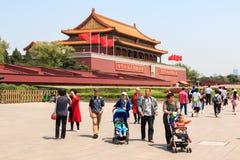 Turisti dal tubo principale della Città proibita fotografia stock libera da diritti