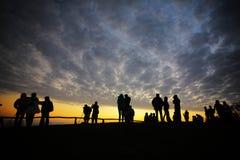 Turisti della siluetta Fotografia Stock Libera da Diritti
