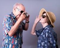 Turisti maggiori sulla vacanza Fotografie Stock Libere da Diritti