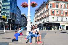 turisti nel centro urbano di Zagabria Immagini Stock Libere da Diritti