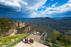 Turisti nel parco nazionale blu delle montagne Immagine Stock Libera da Diritti