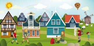 Turisti nella campagna olandese illustrazione di stock