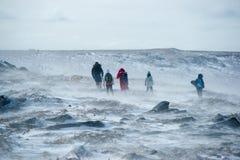 Turisti nella tundra di Chukchi fotografia stock
