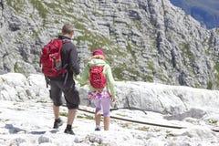 Turisti nelle alpi di Julian Immagini Stock Libere da Diritti