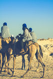 Turisti principali di Beduins sui cammelli al breve giro turistico intorno Immagine Stock Libera da Diritti