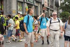 Turisti stranieri in via di qianmen di Pechino Fotografia Stock Libera da Diritti
