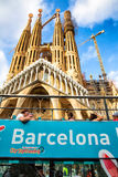 Turistic Bus in front Sagrada Familia Royalty Free Stock Photography