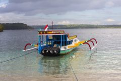 Turistic catamarans on the beach, Nusa Penida, Indonesia Stock Image