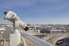 Turistic telescope pointing to old town landmarks, Seville, Spai Stock Images
