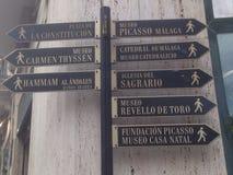 Turistic unterzeichnen herein Màlaga (Spanien) Lizenzfreies Stockfoto