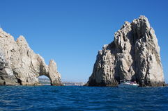 Turists at the arch of Cabo San Lucas. Lands End, a rock formation in Cabo San Lucas at the extreme southern end of Mexico's Baja California Peninsula Stock Images