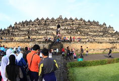 Turists on Borobudur Stock Photo