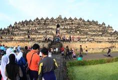 Turists on Borobudur stock photo