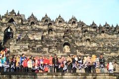 Turists on Borobudur stock photography