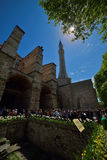 Turists at the entrance of the Hagia Sophia Museum in Istanbul Royalty Free Stock Image