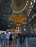 Turists inside the Hagia Sophia Museum in Istanbul Stock Photography