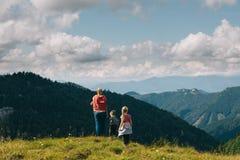 turists letten aard op panorama Royalty-vrije Stock Foto's