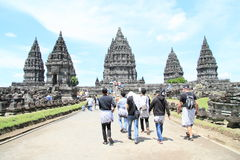 Turists on Prambanan Stock Photos