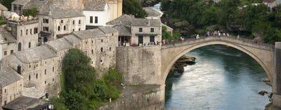 Turists on the restored bridge of Mostar, Bosnia stock image
