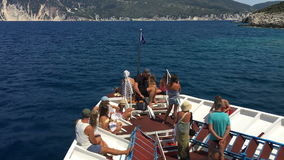 Turists on ship - Ionian Sea Cruising stock video footage