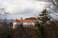 Turjak castle in autumn. Slovenia. White walls red roofs Stock Photography