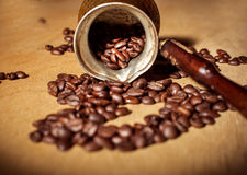 Turk and coffee beans Stock Image