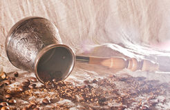Turk for coffee and coffee beans Stock Images