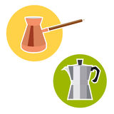 Turk for coffee and  geyser in a flat style. Turk for coffee and coffee geyser in a flat style Stock Photography
