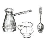 Turk, cup, spoon Stock Photography