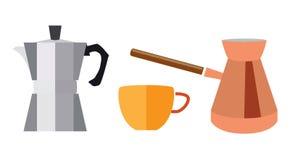 Turk för kaffe och geyser i en plan stil Royaltyfri Fotografi