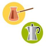 Turk för kaffe och geyser i en plan stil Arkivbild