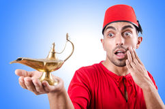 Turk man with lamp Royalty Free Stock Photography
