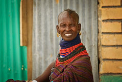 Turkana woman in traditional clothes Stock Photo