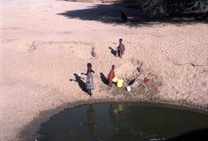Turkana women at water source. The women and children of the Turkana tribe Kenya take water Stock Photo