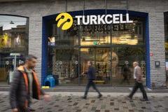Turkcell shoppar på den Istiklal avenyn, Istanbul royaltyfria foton
