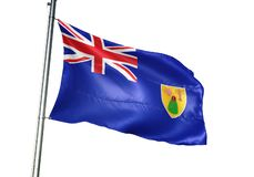 Turken en Caicos Eilanden het nationale vlag golven geïsoleerd op witte realistische 3d illustratie als achtergrond stock illustratie