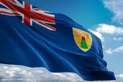 Turken en Caicos Eilanden nationale vlag die blauwe hemel realistische 3d illustratie golven als achtergrond vector illustratie