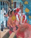Turkenscène schilderen geïnspireerd van een geschiedenisboek stock afbeeldingen