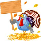 Turkey. Illustration of a Thanksgiving turkey holding a blank board sign Stock Image
