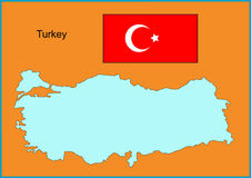 Turkey. Vector map and flag of Europe country Turkey Stock Photography