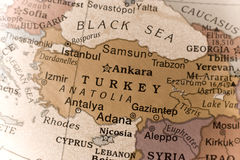 Turkey. Macro of a detail on a globe of Turkey Royalty Free Stock Photography