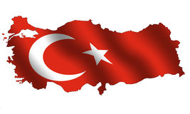 Turkey. Map of Turkey filled with its waving flag Stock Images