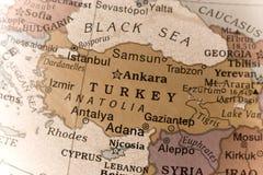 Turkey. Close up on a globe showing Turkey Royalty Free Stock Image