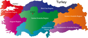 Turkey. Map designed in illustration with regions colored in bright colors. Vector illustration