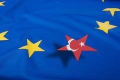 Turkey Accession - European Union Flag. Brexit - European Union Flag Drapery With Turkey Star royalty free stock photos