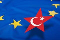 Turkey Accession - European Union Flag. Turkey Accession - Closeup of Glossy Flag of European Union With Turkish Star - Shallow Depth of Field royalty free stock photo