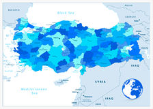 Turkey administrative map in blue colors Stock Photos