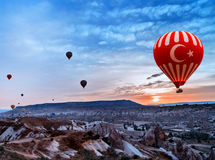 Turkey air balloon flying Cappadocia Stock Photos