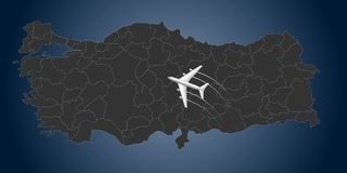 Turkey Airline, map, Fly To Turkey.  vector illustration