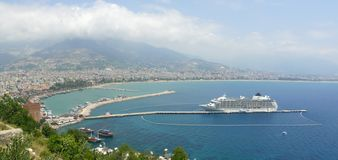 Turkey, Alanya - Red Tower And Harbor Royalty Free Stock Photography
